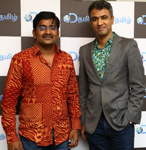 Actor Karunakaran with Sai Abishek (Discovery- Content Director) at the DTamil press meet in Chennai